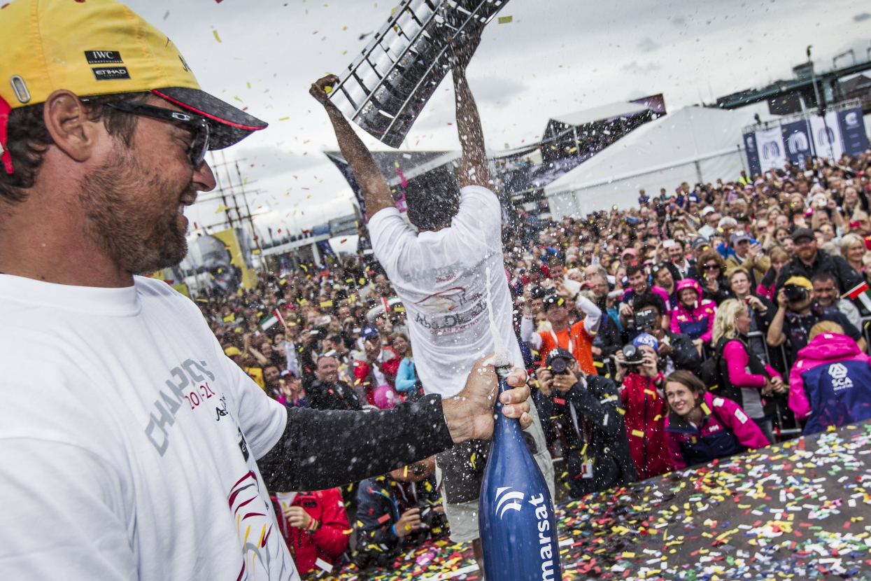June 27, 2015. Gothenburg, Sweden. Volvo Ocean Race. Village prizegiving. The crew of Abu Dhabi Ocean Racing receive the Volvo Ocean Race trophy for the 2014-2015 edition of the race.