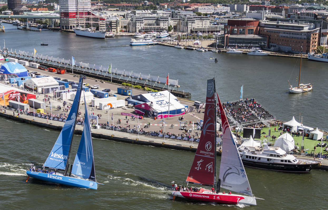June 26, 2015. The Gothenburg Stopover; Dongfeng Race Team and Team Vestas Wind during the ProAm race.